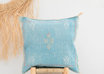 Blue Moroccan Cactus Silk Pillow