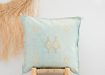 Sky Blue Moroccan Cactus Silk Pillow 247