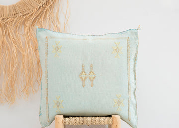 Sky Blue Moroccan Cactus Silk Pillow 244