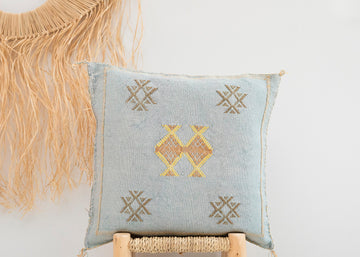 Light Blue Moroccan Cactus Silk Pillow