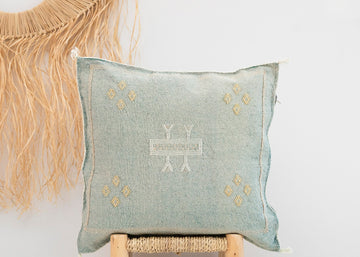 Light Blue/Green Moroccan Cactus Silk Pillow