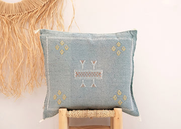 Light Blue Moroccan Cactus Silk Pillow 225