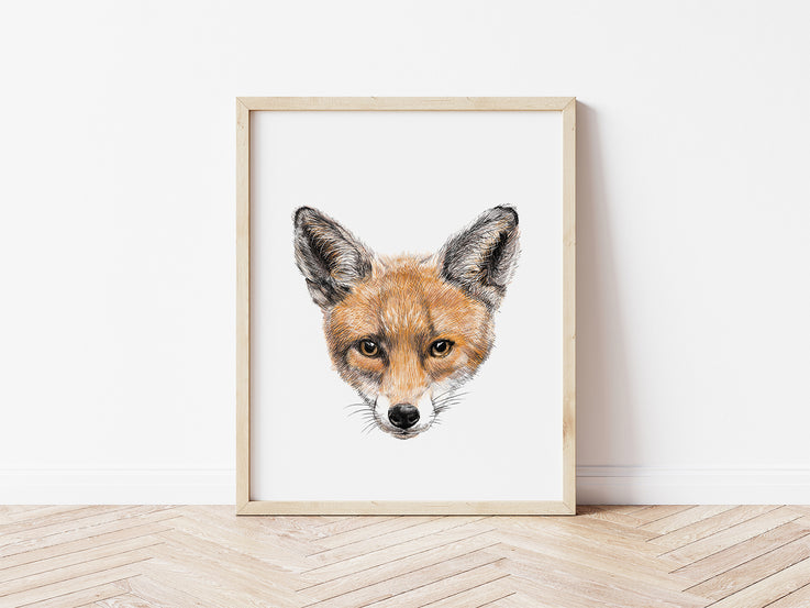 Hand-drawn Fox Print / Nursery Wall Art / Cute Woodland Animal Print / Animal Portrait / Printable Wall Art / Nursery Decor