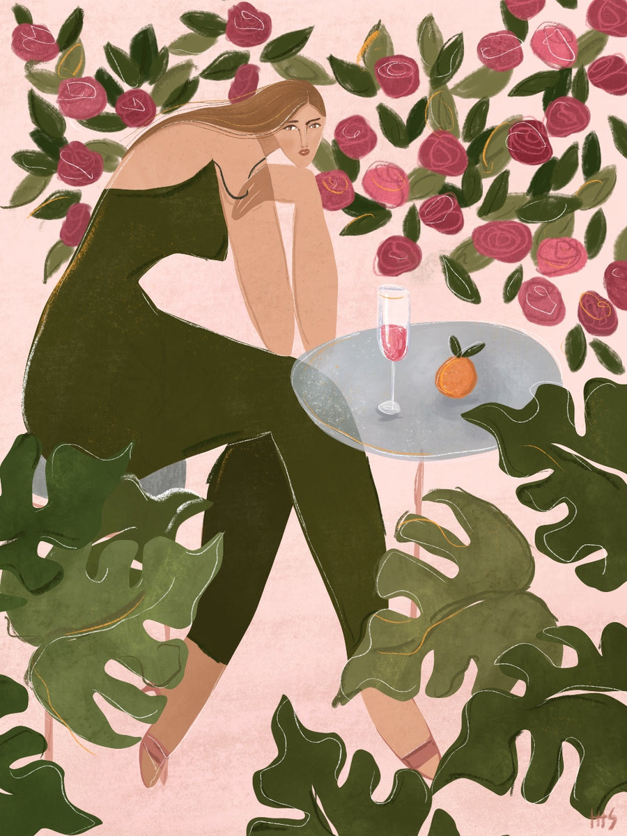 'Brunch in the rose garden' art print by Maggie Stephenson