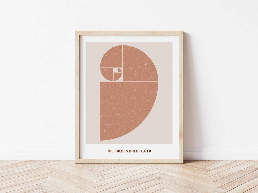 Golden Ratio Print / Fibonacci Spiral Poster / Fibonacci Sequence Wall Art / Abstract Printable Wall Art / Boho Print
