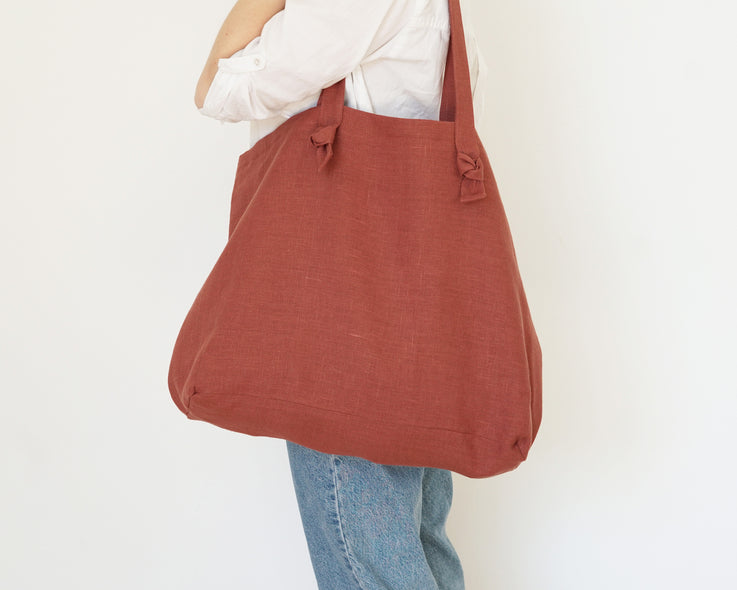 Terracotta Linen Tote Bag