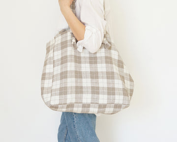 check gray linen tote bag