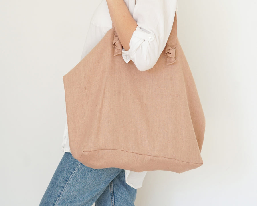 Peach Pink Linen Tote Bag