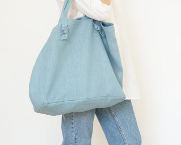 sky blue linen tote bag