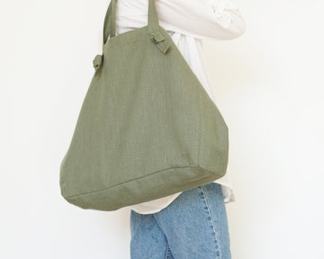 olive green linen tote bag
