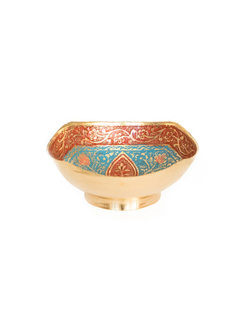 moroccan vintage brass handpainted jewellery ring dish bowl