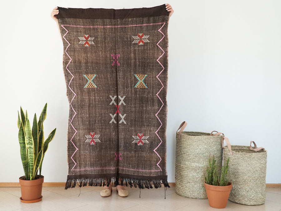 Dark Brown Moroccan Cactus Silk Sabra Rug