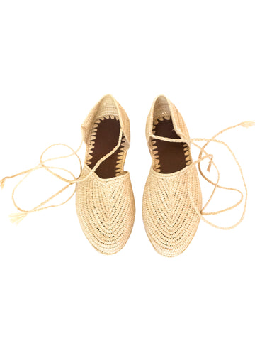 Natural Raffia Ankle Strap Sandals Handwoven in Morocco