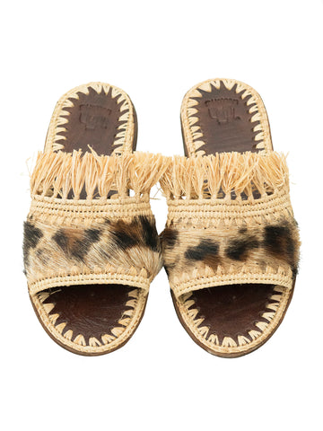 Natural Raffia & Fur Slippers Handwoven in Morocco