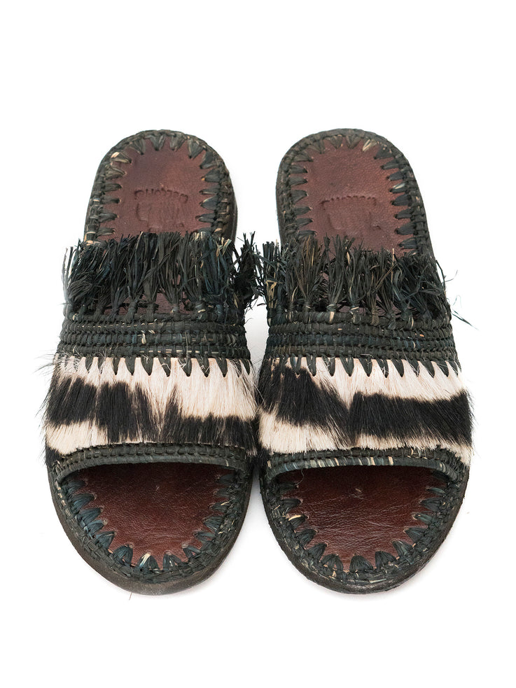 Black Raffia & Fur Slippers Handwoven in Morocco