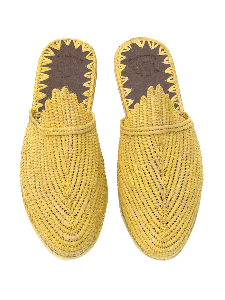 Yellow Raffia Slide Sandals Handwoven in Morocco