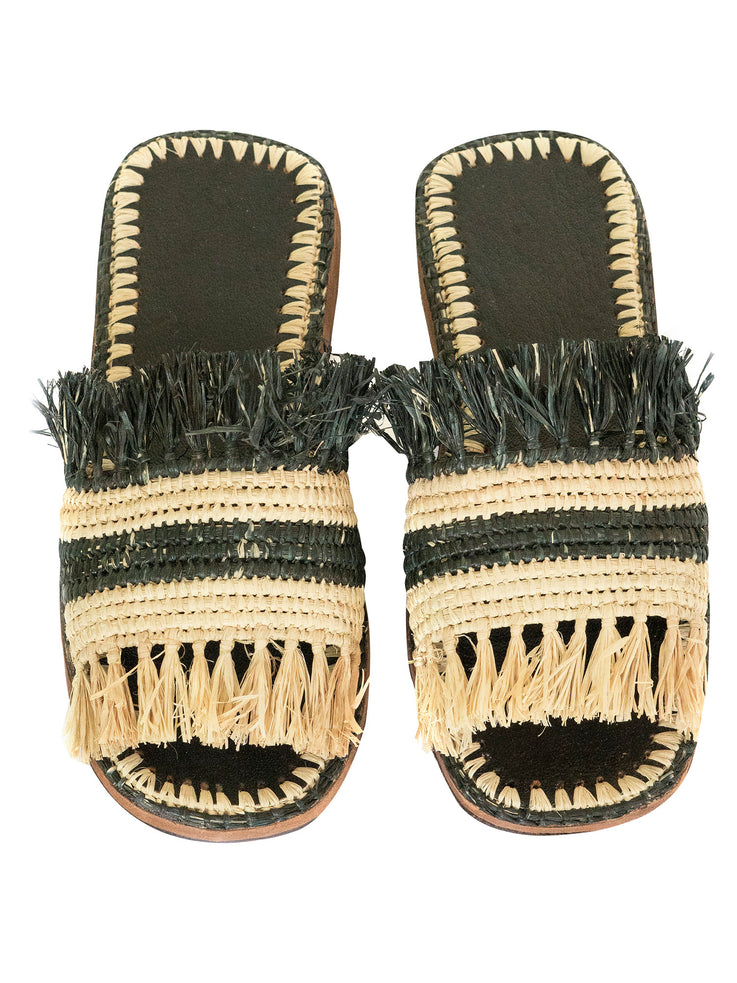 Natural & Black Raffia Slippers Handwoven in Morocco