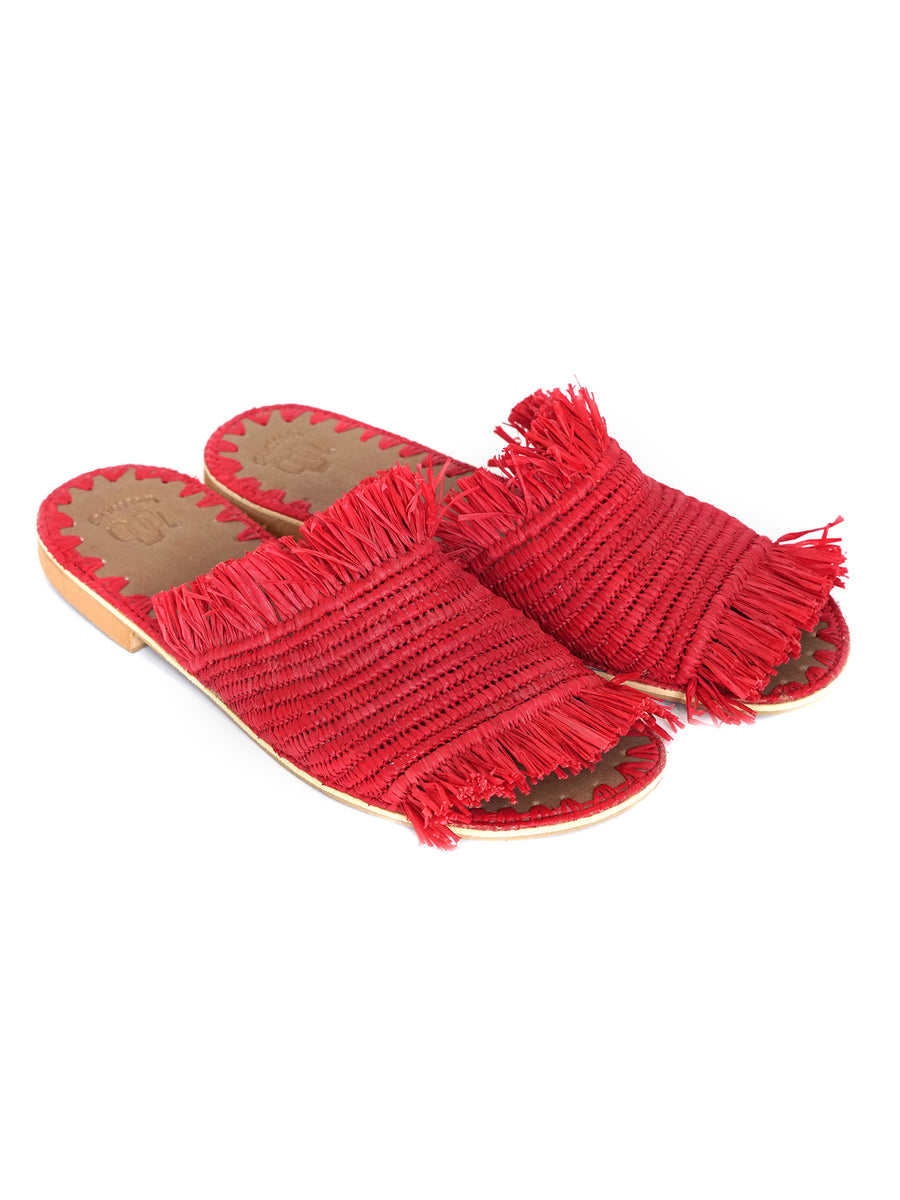 Red Raffia Slippers Handwoven in Morocco