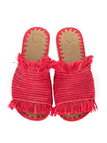 moroccan raffia slippers red
