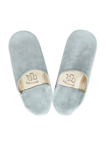 Light Blue-Gray Moroccan Babouche Suede Slippers / Leather Indoor Slippers / Women's Babouches