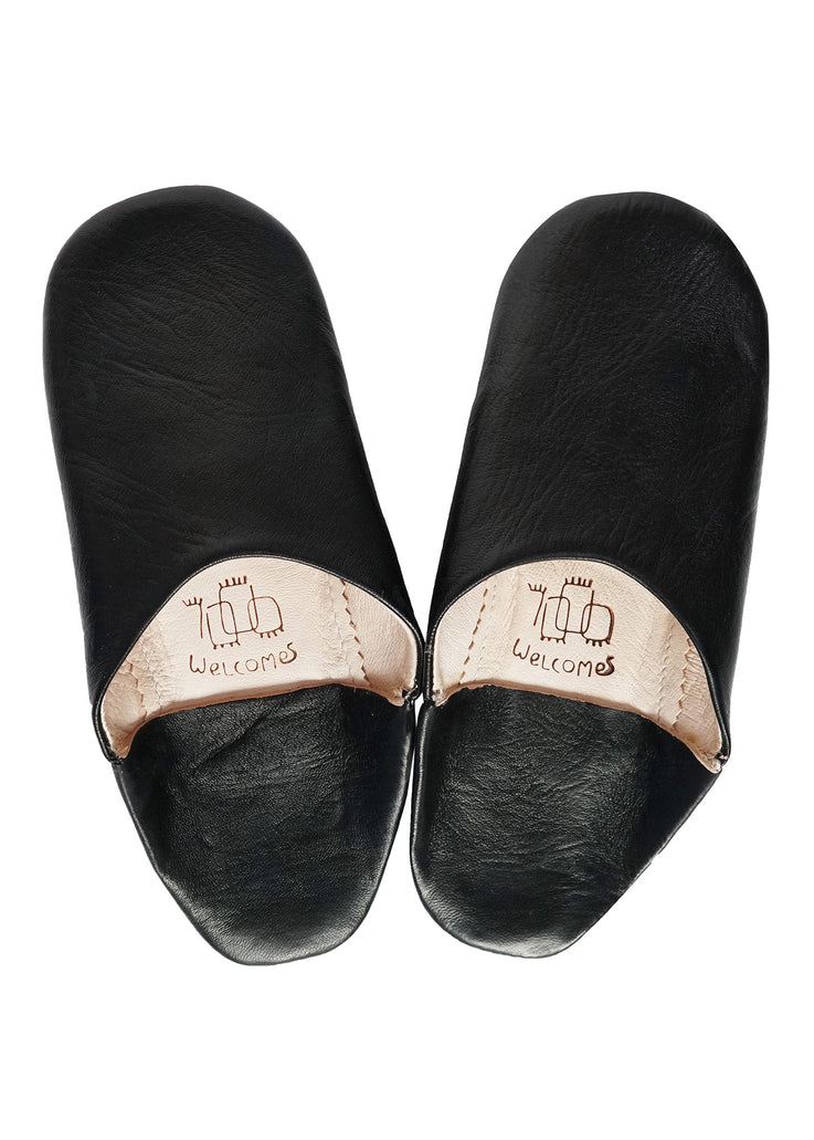 Unisex Moroccan Babouche Slippers / Leather Indoor Slippers / Black Babouche