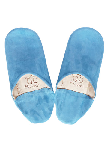 Sky Blue Moroccan Babouche Suede Slippers / Leather Indoor Slippers / Women's Babouche