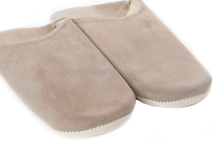 Light Cocoa Moroccan Babouche Suede Slippers / Leather Indoor Slippers / Women's Babouche