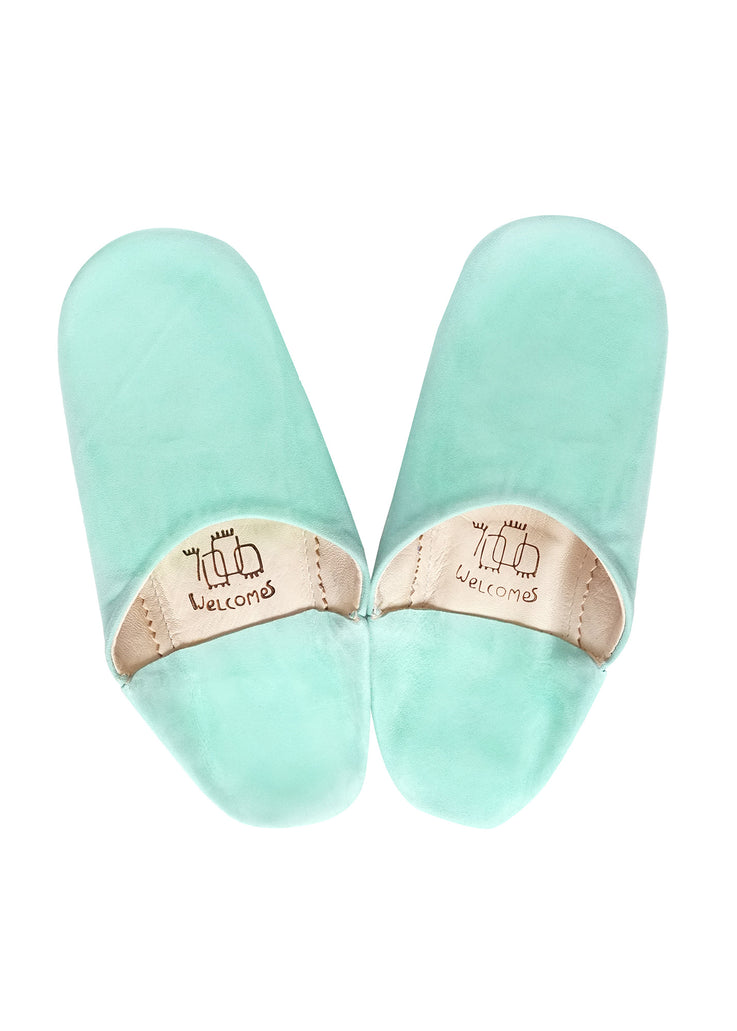 Mint Moroccan Babouche Suede Slippers / Leather Indoor Slippers / Women's Babouche