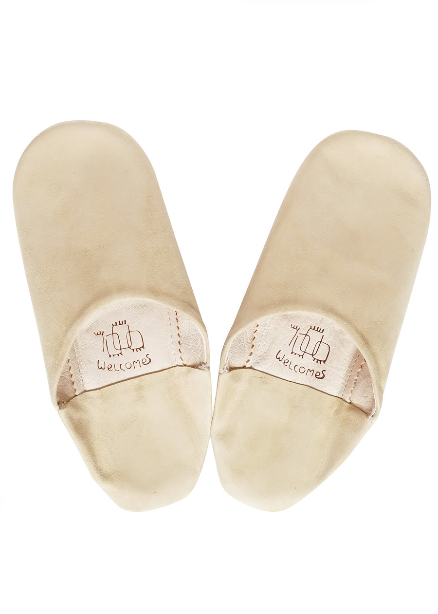 Natural Beige Moroccan Babouche Suede Slippers / Leather Indoor Slippers / Women's Babouche