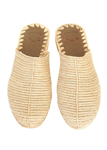 Natural Raffia Slide Sandals
