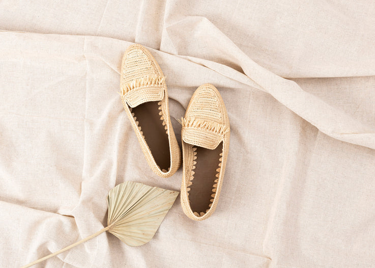 Natural Raffia Fringed Moccasins Handwoven in Morocco