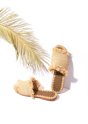 Natural Raffia Slippers Handwoven in Morocco