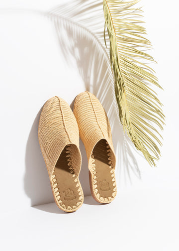 Natural Raffia Slide Sandals Handwoven in Morocco