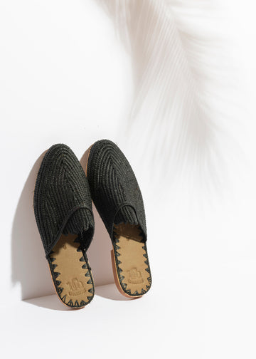 Black Raffia Slide Sandals Handwoven in Morocco