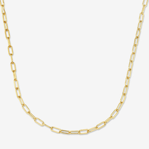 14K SOLID GOLD LONG LINK CHAIN NECKLACE