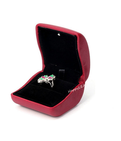 Lily Treacy PULeather Jewelry Ring box case with LED lighted Proposal Engagement