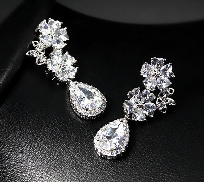 CZ Dangle Drop Earrings 5ct Top Quality CZ simulated diamond white in LED light box Bridal by Lily Treacy