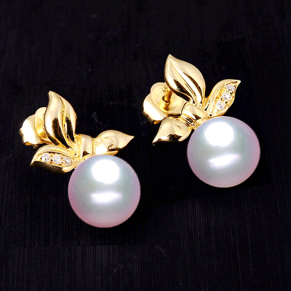 LILY TREACY 7.5-8mm Japanese Akoya pearl ear studs earrings IN GOLD AND DIAMOND Janet EARRINGS
