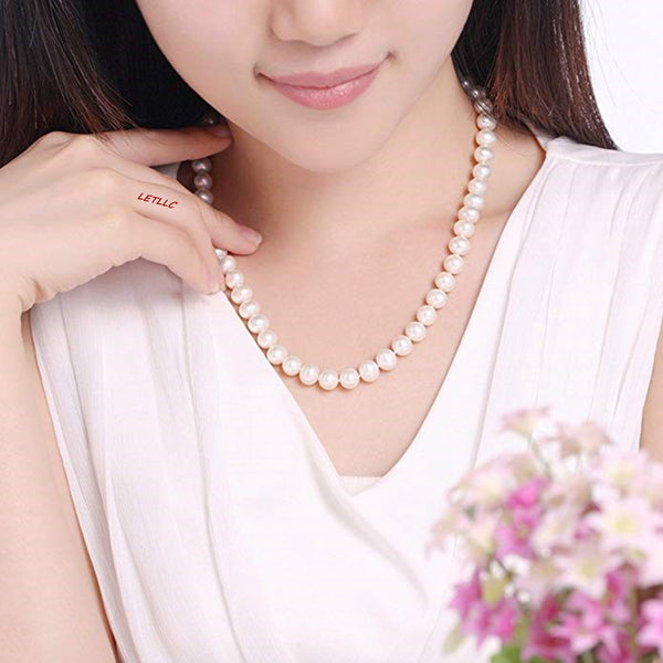 "*Best Deal* 8.5-9.5mm White Freshwater Pearl Strand Necklace 18"" Magnetic clasp wedding bridal"