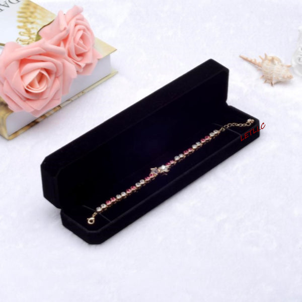 Lily Treacy Deluxe Black Velvet Bracelet Necklace Watch Box Case Pendant Chain Gift Packaging