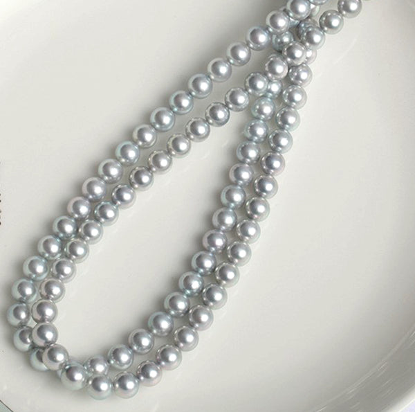 Lily Treacy 9-9.5mm Japanese Akoya Pearl Matama 14K gold Necklace strand Silver bridal wedding 18""