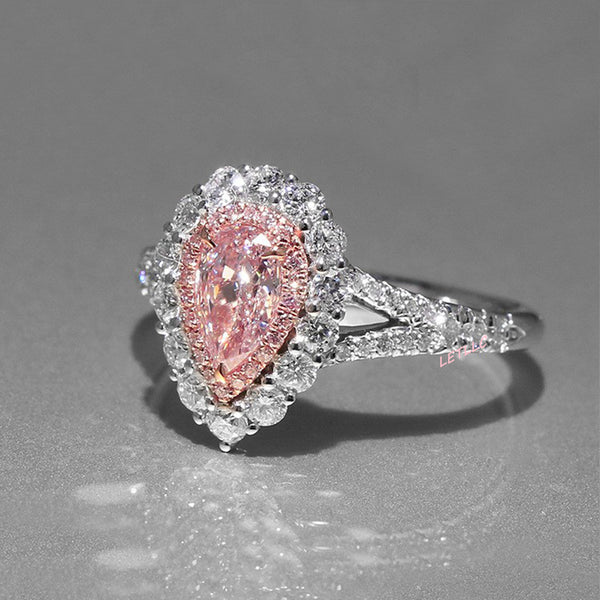 4ct CZ Ring Pink Pear Cut women Promise, Engagement, Proposal, Wedding Size 7 8 9