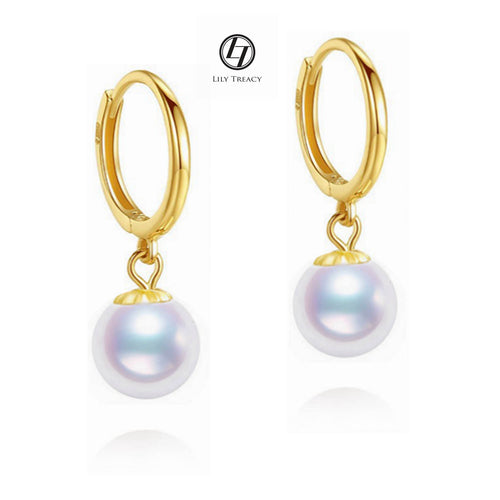 Japanese Akoya Pearl hoop Earrings drop dangle 18K Solid Gold white bridal 7.5-8/8-8.5mm