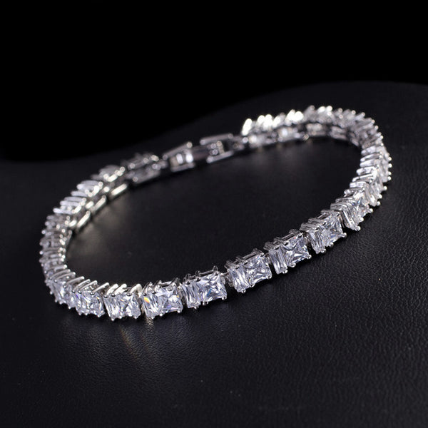 "Tennis Bracelet CZ Princess Cut White Yellow 7""-8"" w/ extra link extension bridal"