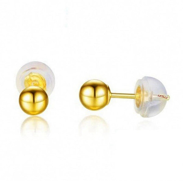 18K Solid Yellow Gold Earring Backs Silicone Padded Safety Grip Earring Backings Secure Pierced Earring Backs for Ear Studs