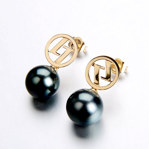 Lily Treacy Signature 10-11mm Tahitian Pearl Dangle Drop Earrings 14K solid White yellow Gold