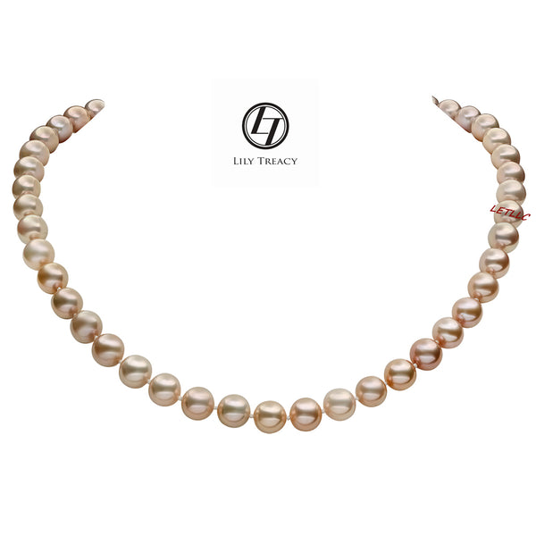 "9-10mm Freshwater Pearl Necklace Strand Metallic Rose Pink 18"" wedding bridal bridesmaid gift"