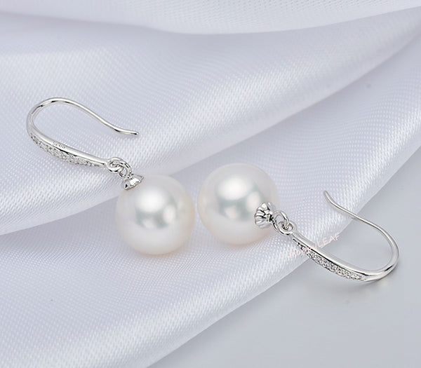 8-9mm Freshwater pearl drop dangle hoop Earrings Sterling Silver CZ bridal white by Lily Treacy