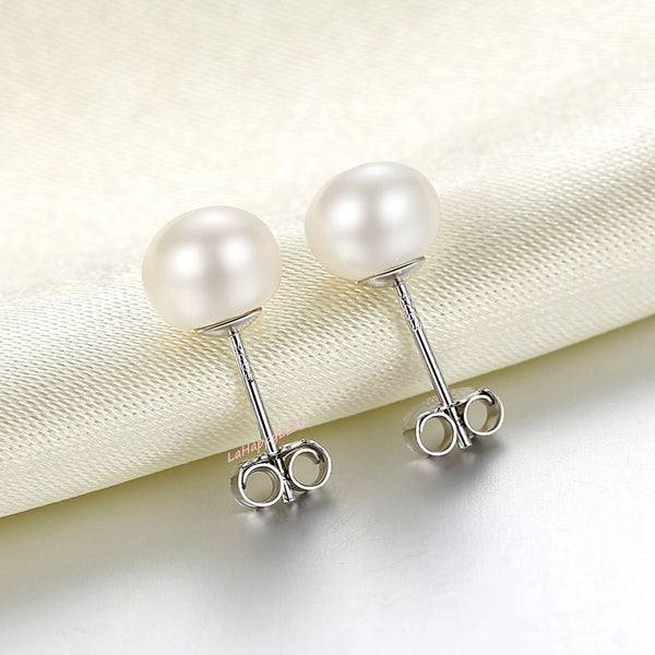 7-8mm White Freshwater Pearl Stud Earrings 925 Sterling Silver post & back bridal Gift