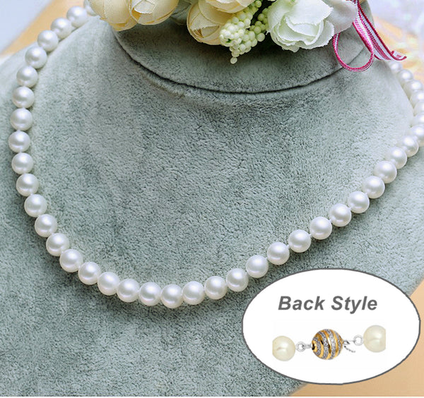 "8-9mm Freshwater Pearl  Necklace Strand White 18"" wedding bridal gift"